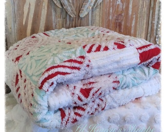 Red, white & Aqua blue chenille quilt, handmade, couch throw, baby blanket