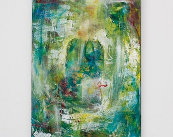 Abstract Green Painting, 2015, original painting // Green interior, nature, botanical, urban jungle, painting on canvas