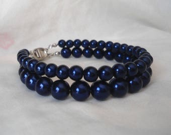 Navy Blue Pearl Bracelet,2 Strands Pearl Bracelet,,Wedding Jewelry,Pearl Jewelry,Bridesmaid Bracelet,Glass Pearl Bracelet,