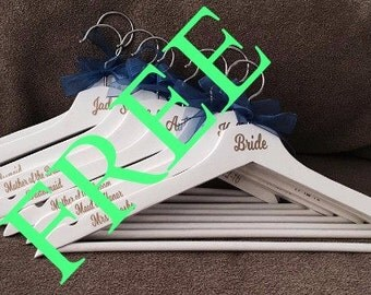 FREE BRIDE HANGER, Wood Wedding Hangers, Bridal Party Hangers, Custom Bridal Hanger