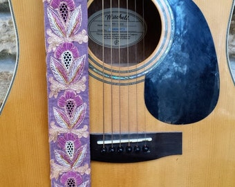 Pretty and Chic in Pink Beaded Guitar Strap; Statement Guitar Strap; Unique Guitar Straps; Handmade Straps; Gift for Her; Guitar Straps