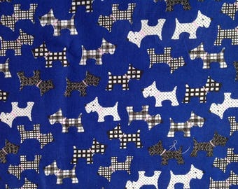 Cotton Fabric Remnant  Scottie Dog Pattern Width 114cms Length 83cms Blue fabric Craft Supplies Patchwork