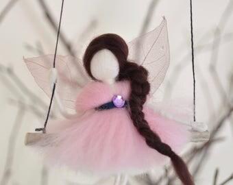 Felted Pixie Fairy swing Mobile - kids decor - kids room - baby mobile - Gift for girl