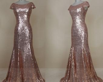 Bridesmaid Dresses Long,Rose Gold Sequin Bridesmaid Dress,Sexy Backless Sequin Prom Dress,Custom Bridesmaid Dress,Formal Gold Evening Dress