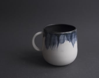 Tea / coffee cup, handmade wheel thrown porcelain, minimal nordic blue miracle pottery ceramics, 400ml 300ml