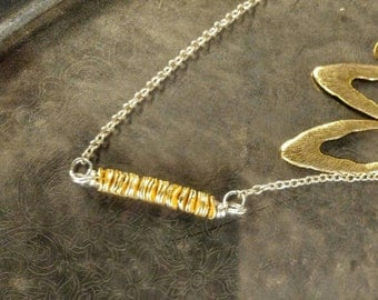 SALE Chic Hobo Gold Pringle Chip Necklace with Brass Earrings