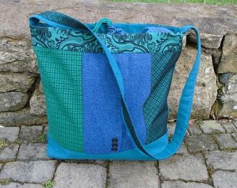 Blue green messenger bag, made of upcycled woollen materials