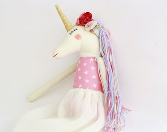 Unicorn cloth doll handmade roses star body