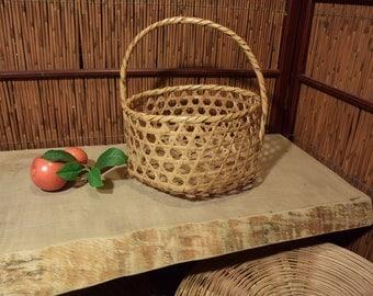 Vintage Japanese Ikebana Bamboo Basket Flower Arrangement