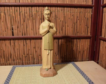 Vintage Wood Carved Statue of Virgin Mary Blessed Mother Of God Our Lady of Korea  12 Inches Tall