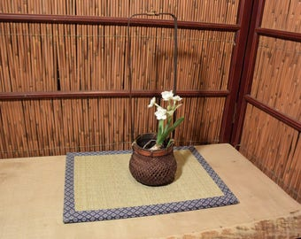 Vintage Japanese Ikebana Flower Arrangement Bamboo Basket Long Handle