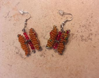 Hand-Beaded Butterfly Earrings - Orange