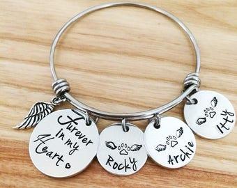 Forever in my heart - Furever in my heart - pet memorial bracelet jewelry - pet loss bracelet jewelry necklace - Hand stamped bracelet