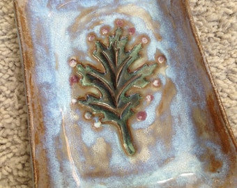 Blue and Brown Glazed Pottery Tray marked DESIREE