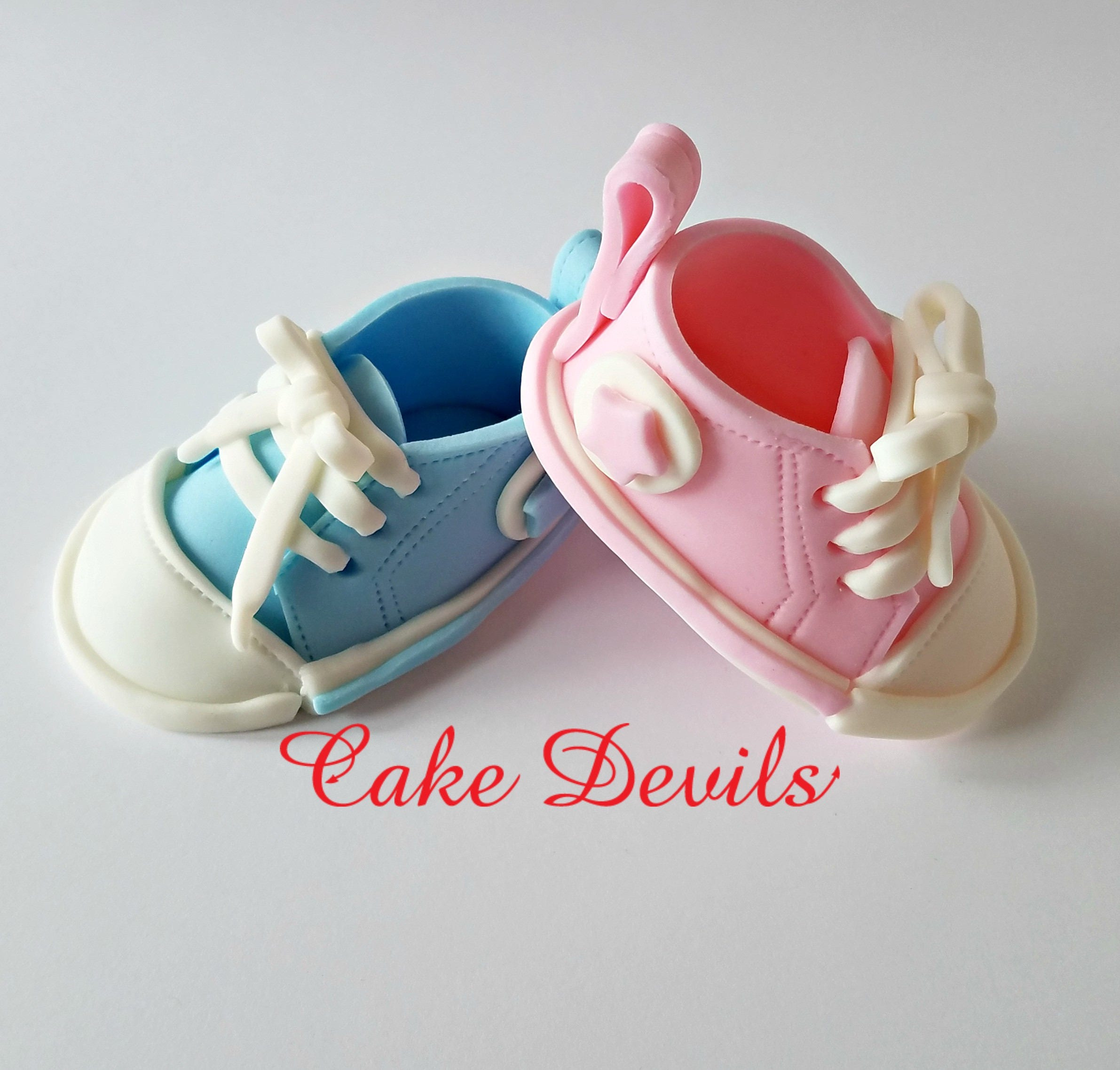 Gender Reveal Fondant Baby Sneakers Cake Gender Reveal Ideas