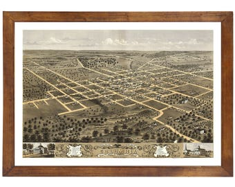 Columbia, MO 1869 Bird's Eye View; 24x36 Print from a Vintage Lithograph