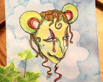 Original Bear / Mouse Balloon - Unique Watercolour Painting