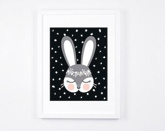 Scandinavian Nursery Decor, Bunny Art Printable, Black and White Bunny Instant Download, Digital Nursery Art, Monochrome Nursery