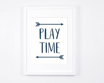 Play Time Nursery Art Printables, Navy Blue and White Playroom Decor Instant Download, Boys Playroom, Arrows Art, Little Boys Nursery Art