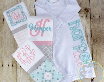 Baby Girl Gift Set - Monogrammed, Personalized Infant Gown and Burp Cloth Set - Baby Gift - Baby Shower Gift