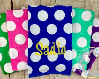 Polka Dot Monogrammed, Personalized Matching Beach Towel, Pool Towel, Swim Towel, Graduation, Bridesmaid, Teacher Gift, Swim Party Favor