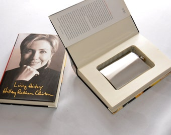 "Hillary Clinton Book Safe w/ 8oz steel flask - Political Election Hollow Book - ""Living History"""
