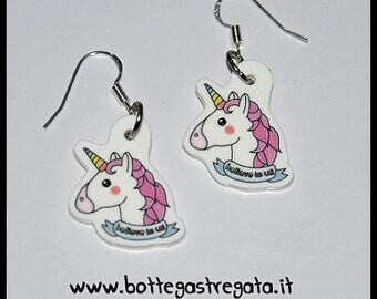 Earrings Pink Unicorn Cute Kawaii Fantasy Magic