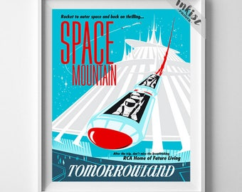 Disneyland Vintage, Disney Poster, Disneyland Print, Space Mountain, Disney, Tomorrowland, Fantasyland, Reproduction, Christmas Gift