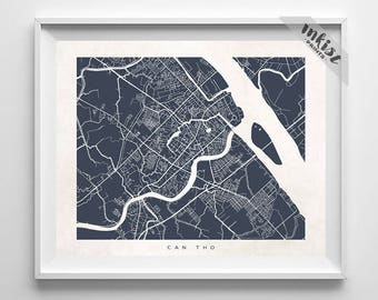 Can Tho Map, Vietnam Print, Vietnam Poster, Can Tho Art, Modern Decor, Hanging, Map Art, Online Prints, Nursery Posters, Dorm Decor