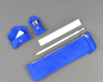 Handmade LeadorDead Blue Suede Leather Stationery Set Leather Pencil Case