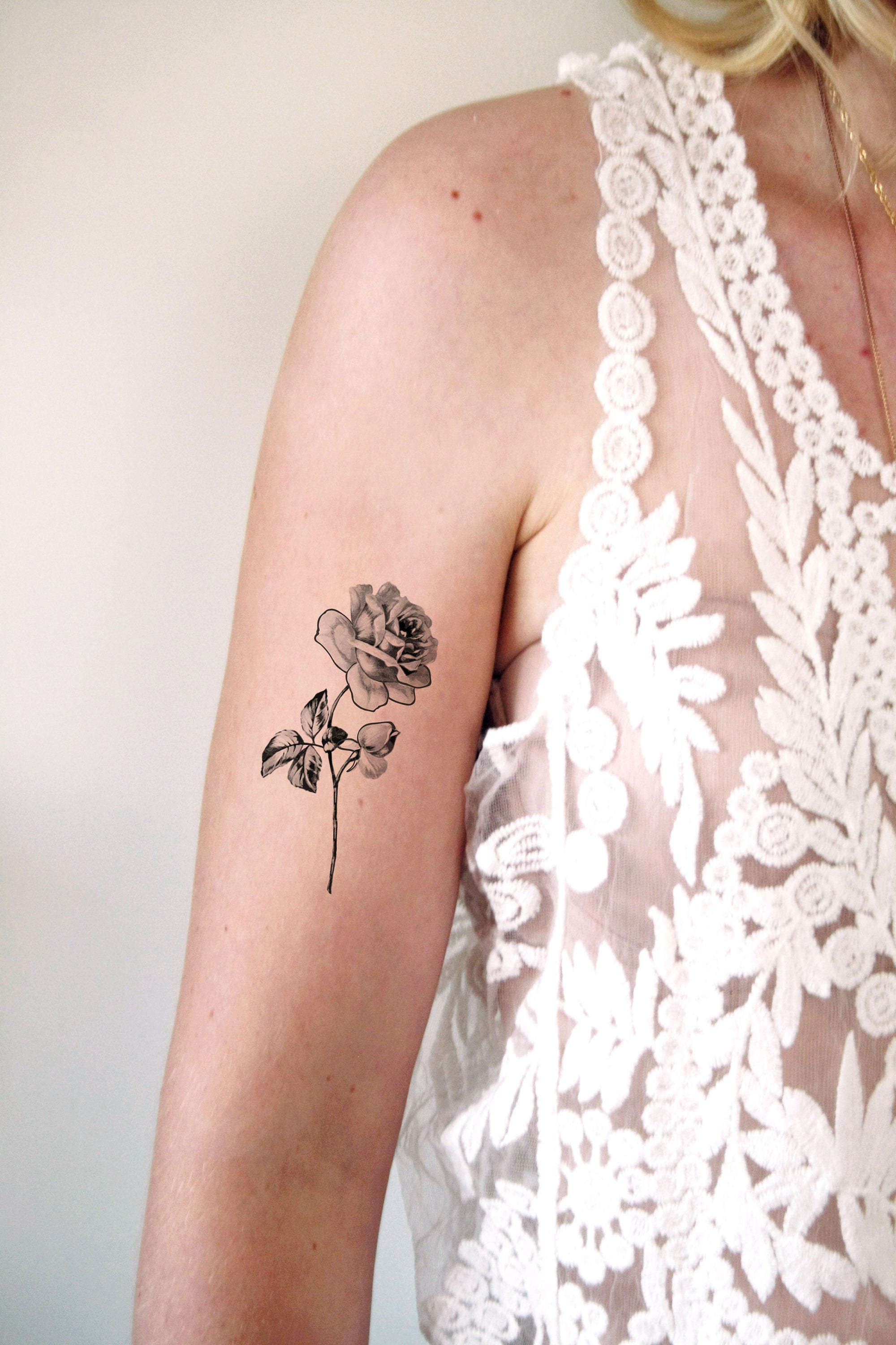 rose temporary tattoo black and white rose temporary tattoo