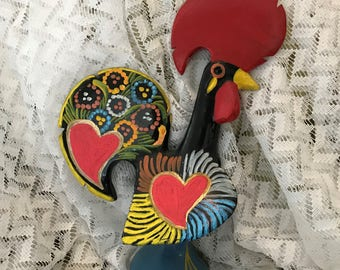Colorful Hand Painted Ceramic Rooster Statue Figurine Made In Portugal