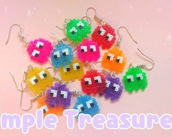 Rainbow PacMan Ghost Earrings