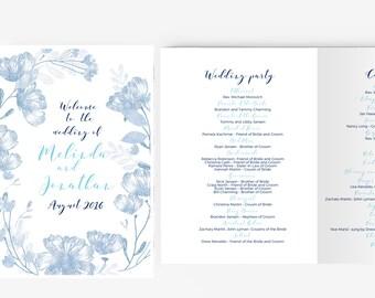 Wedding Program Template | Printable Instant Download  | DIY | Floral blue