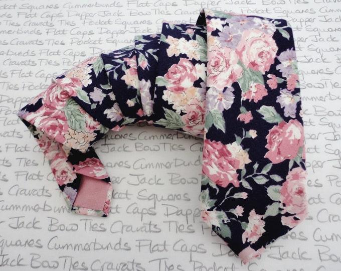 Featured listing image: Floral tie, ties for men, pink roses on a navy background cotton tie, skinny ties for men, slim ties, standard width ties, wedding ties