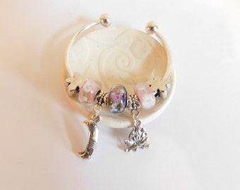Camper Bangle Bracelet - Canoe Bracelet - Campfire Charm Bracelet - For Small Wrists - Gift for Girl - Stocking Stuffer - Outdoors Gift