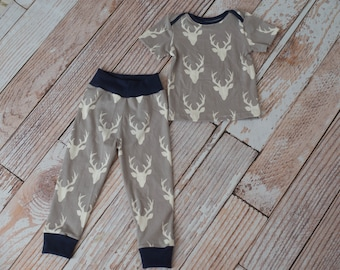 Toddler/baby deer skull and Antlers Shirt and Coordinating Pants