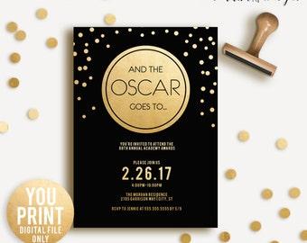 Oscar Party Invitation, 2017 Oscar Invitation, Academy Awards 2017, Black and gold Oscar Party, Oscars Invite, DIGITAL DIY