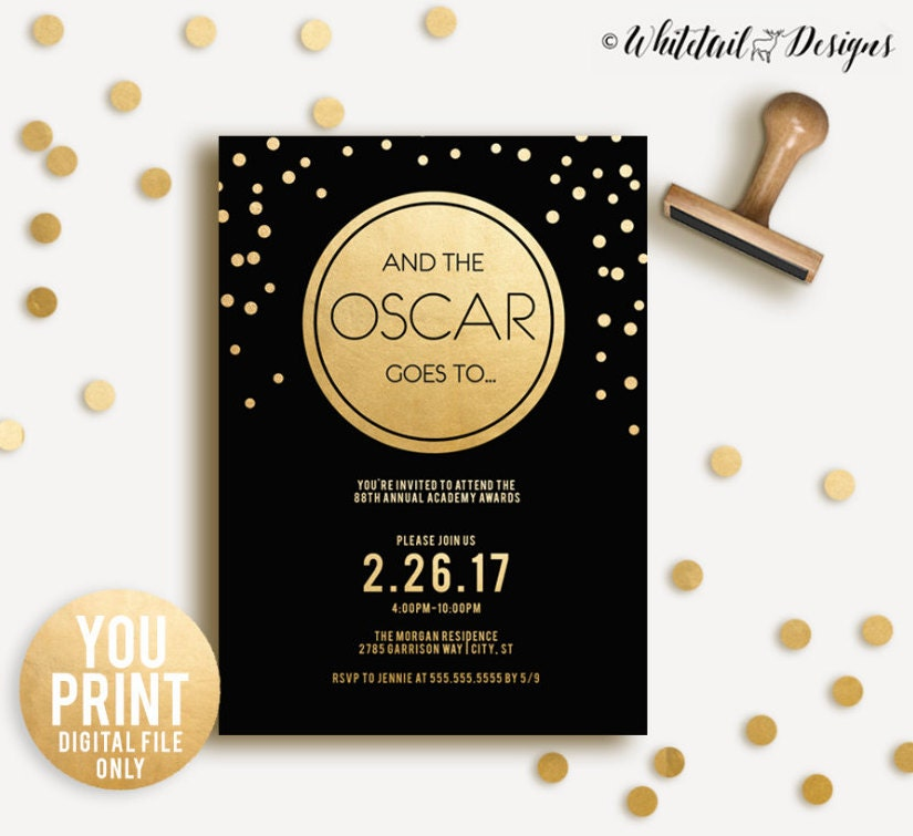 Oscar Party Invitation 2017 Oscar Invitation Academy Awards