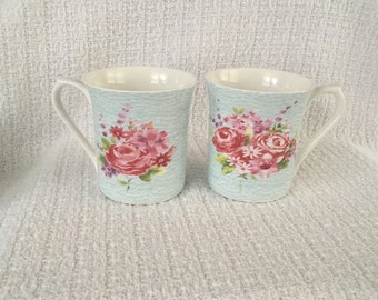 queens fine bone china floral crackle blue mug blue mug with rose floral bone