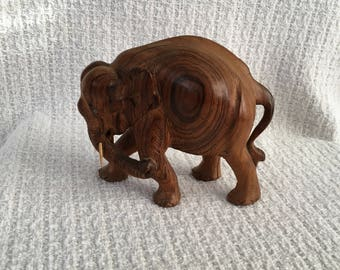 Hand Carved Wood Elephant with Wood Tusks, Wood Elephant, Hand Carved Elephant, Wood Elephant with Tusks, Elephant Decor, Elephant Figurine