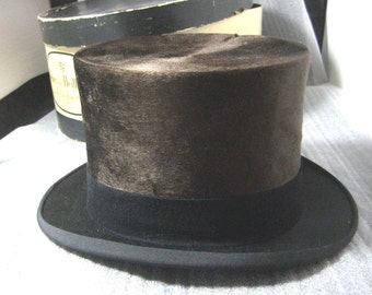 Antique High Top Hat Brown Silk Plush by Saks Fifth Ave Offered in Hat Box