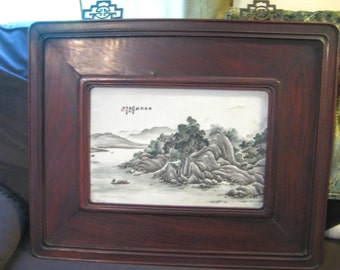 Rare Pair of Antique Chinese Porcelain Painting by Wang YeTing Early 19th Century