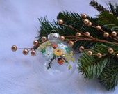 Rustic Wildflower Glass Ornament bulb Merry Christmas Happy Holidays hand-painted decoration peony twig blue green brown pink