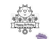 Set of Digital Stamps - Animals; Hello; Happy Birthday; Cat; Dog