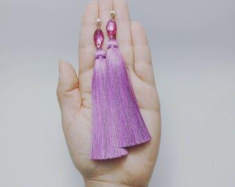 Tassel Earrings, Fuchsia Earrings, Long Tassel Earrings, Luxury Tassel Earring, Silky Tassel Jewelry, Fuchsia Tassel Earrings