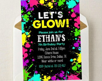 Boy Neon Glow Invitation // Neon Glow Party Invitation // Glow Birthday Party // Glow Birthday Party // Boy Glow in the Dark Party Invite