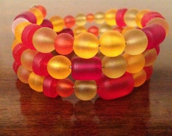 Cultured Sea Glass Memory Wire Bracelet, Red Orange Yellow Bracelet, Memory Wire, Colorful Beads. Hand-Strung Bracelet