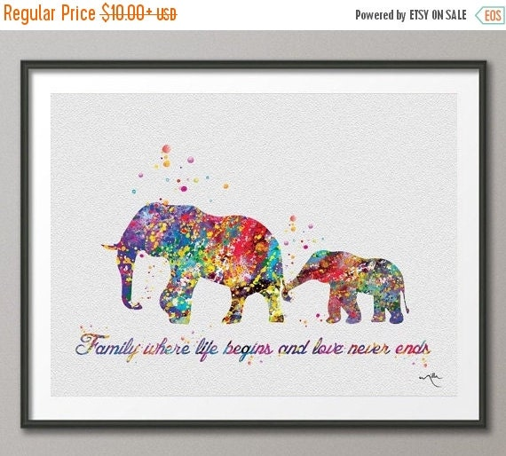 On Sale Elephant Family Quote Art Print Watercolor By