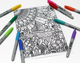 Mandala coloring, drawing #0590 printed on cardboard, coloring of relaxation, boat and butterflies